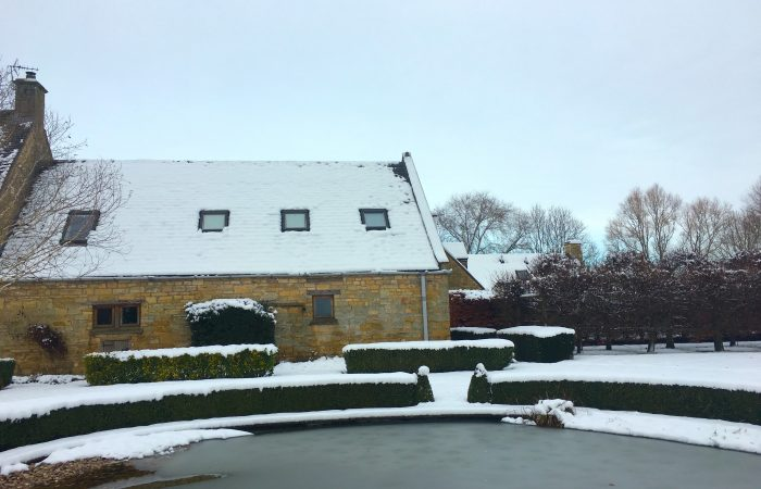 Rafters Cotswold holiday apartment in the snow